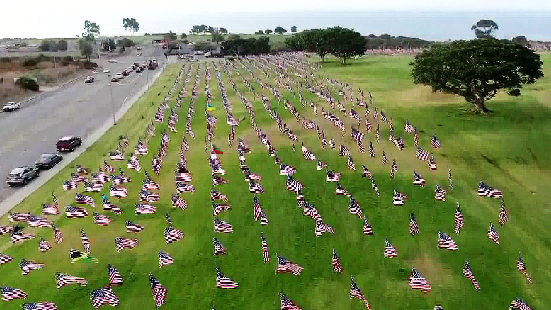 The Waves of Flags tribute to 9/11 victims is seen on Sept. 11, 2019. (Credit: KTLA)
