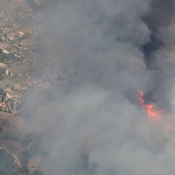 The Tenaja Fire was burning dangerously close to homes in the Murrieta area on Sept. 5, 2019. (Credit: KTLA)
