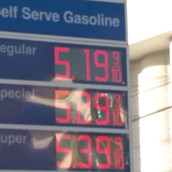 A Mobil gas station in Beverly Grove shows gas prices more than $5 per gallon on Sept. 30, 2019. (Credit: KTLA)