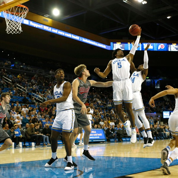The UCLA Bruins plag against the Utah Utes at Pauley Pavilion on Feb. 9, 2019 in Los Angeles. (Credit: Katharine Lotze/Getty Images)