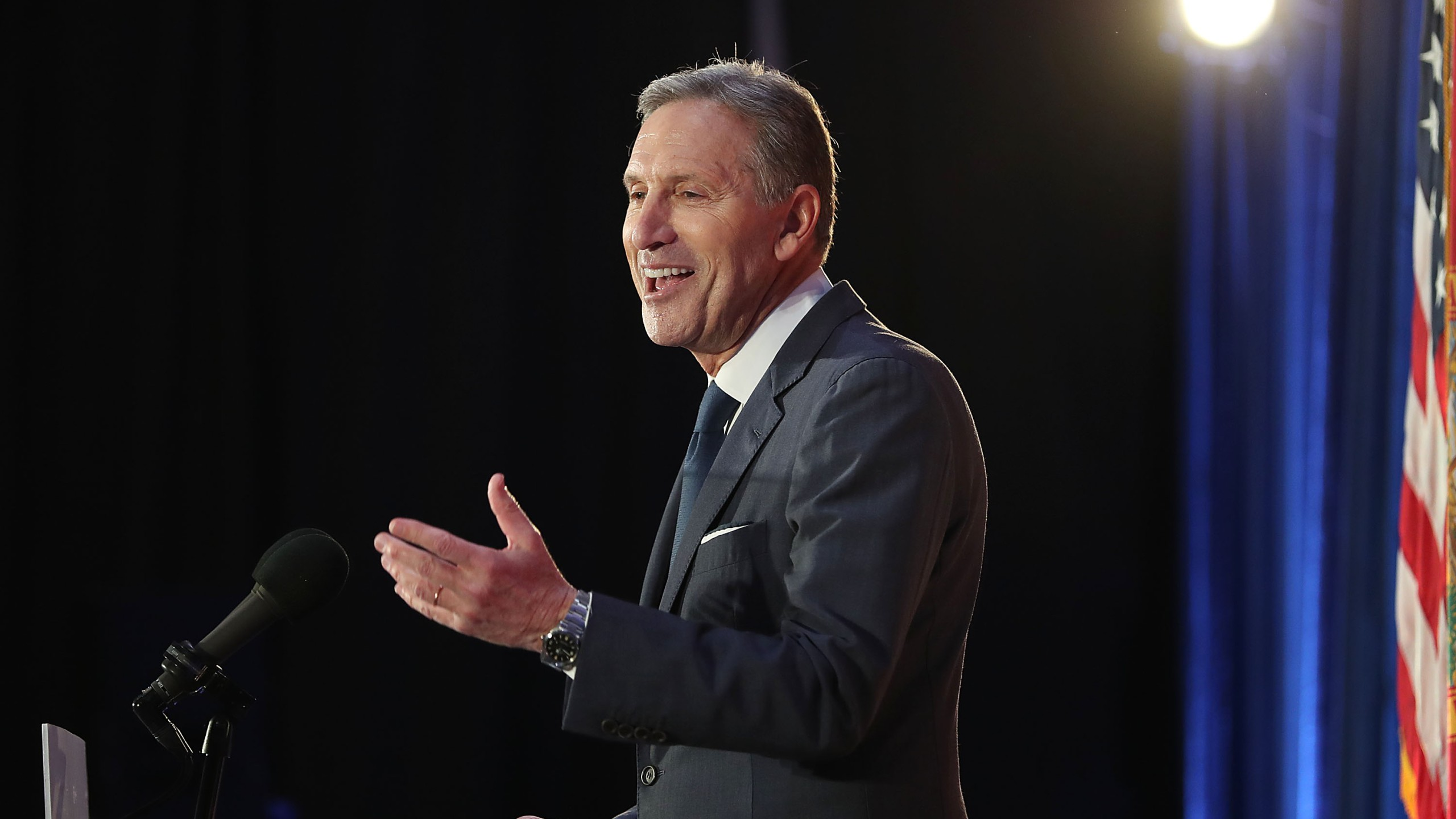 Former Starbucks CEO Howard Schultz speaks during a stop at Miami Dade College on March 13, 2019, in Miami, Florida. (Credit: Joe Raedle/Getty Images)