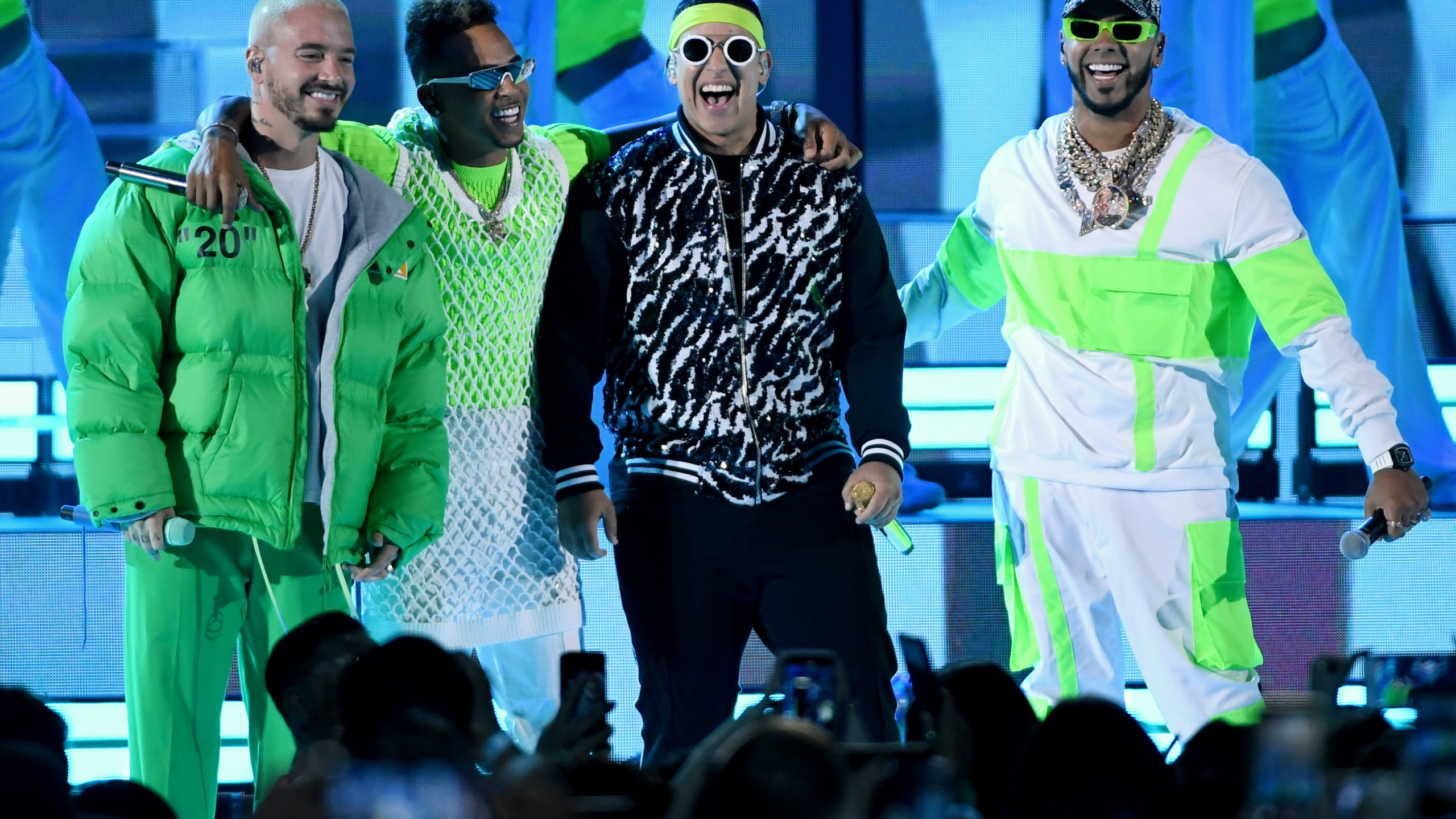 From left to right: J Balvin, Ozuna, Daddy Yankee and Anuel AA perform during the 2019 Billboard Latin Music Awards at the Mandalay Bay Events Center on April 25, 2019, in Las Vegas, Nevada. (Credit: Ethan Miller/Getty Images)