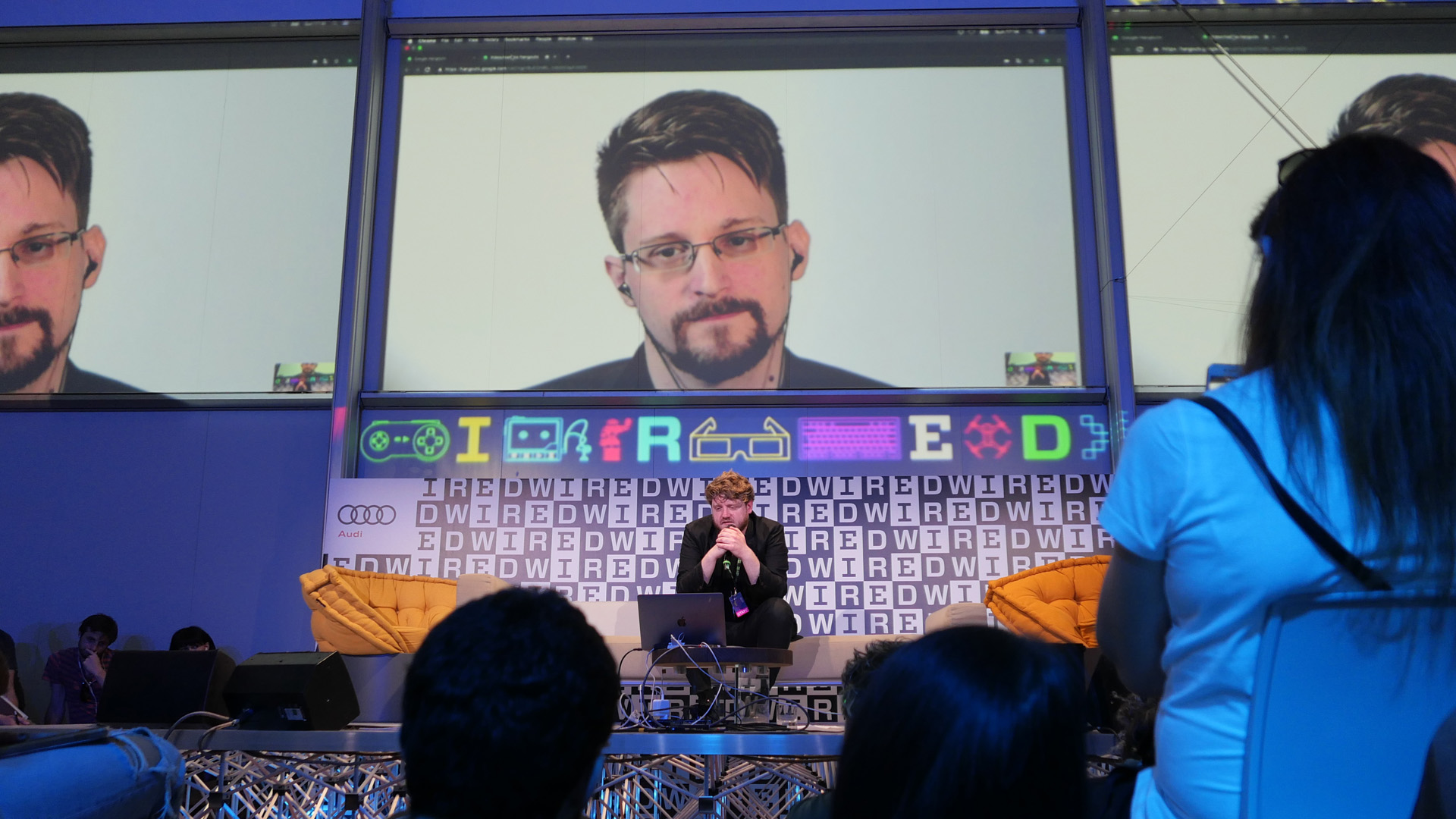 Computer security consultant Edward Snowden speaks in connection from Russia during the Wired Next Fest 2019 at the Giardini Indro Montanelli on May 26, 2019 in Milan, Italy. (Credit: Rosdiana Ciaravolo/Getty Images)