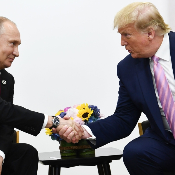 President Donald Trump attends a meeting with Russia's President Vladimir Putin during the G20 summit in Osaka on June 28, 2019. (Credit: Brendan Smialowski/AFP/Getty Images)