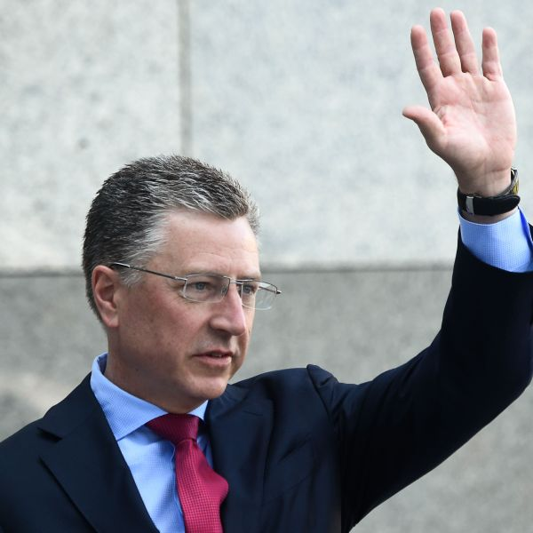 Ambassador to NATO and U.S. special envoy for Ukraine Kurt Volker waves as he arrives prior to a press-conference in Kiev on July 27, 2019. (Credit: Sergei Supinsky / AFP / Getty Images)