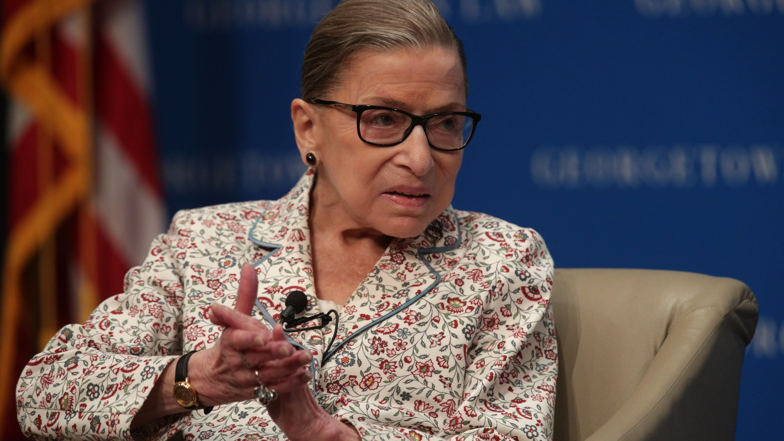 Supreme Court Associate Justice Ruth Bader Ginsburg participates in a discussion at Georgetown University Law Center in Washington on July 2, 2019. (Credit: Alex Wong / Getty Images)