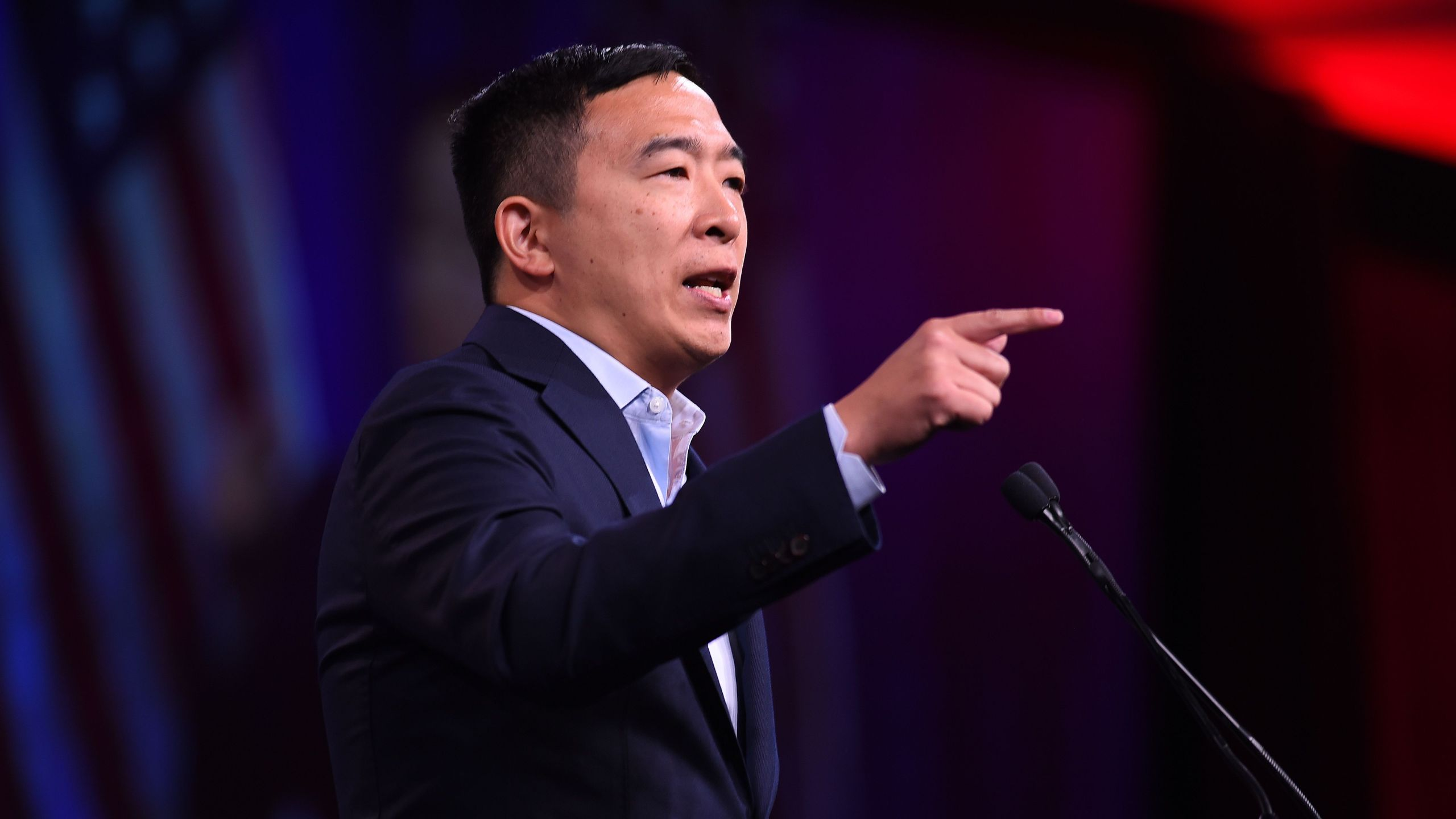 2020 Democratic Presidential hopeful Andrew Yang speaks on stage during the Democratic National Committee's summer meeting in San Francisco, California on August 23, 2019. (Credit: JOSH EDELSON/AFP/Getty Images)