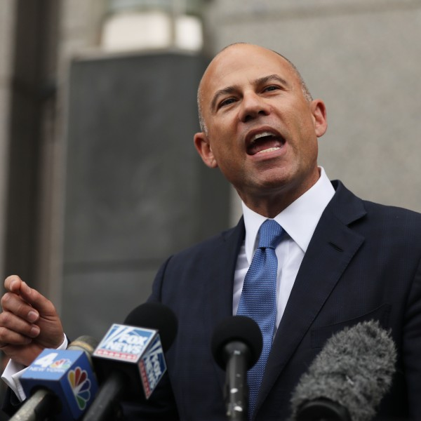 Celebrity attorney Michael Avenatti speaks to the media outside of a New York court house after a hearing in a case where he is accused of stealing $300,000 from a former client, adult-film actress Stormy Daniels on July 23, 2019. (Credit: Spencer Platt/Getty Images)