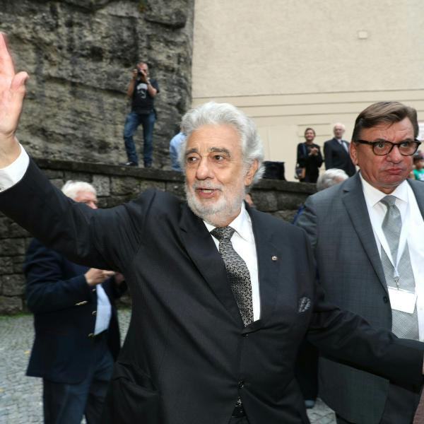 """Spanish opera singer Placido Domingo is seen after the performance of """"Luisa Miller"""" at the Salzburg Festival, on Aug. 25, 2019, in Salzburg, Austria. (Credit: FRANZ NEUMAYR/AFP/Getty Images)"""