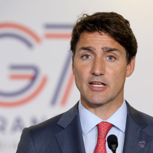 Canada's Prime Minister Justin Trudeau addresses media representatives at a press conference in Biarritz, south-west France on August 26, 2019. (Credit: LUDOVIC MARIN/AFP/Getty Images)