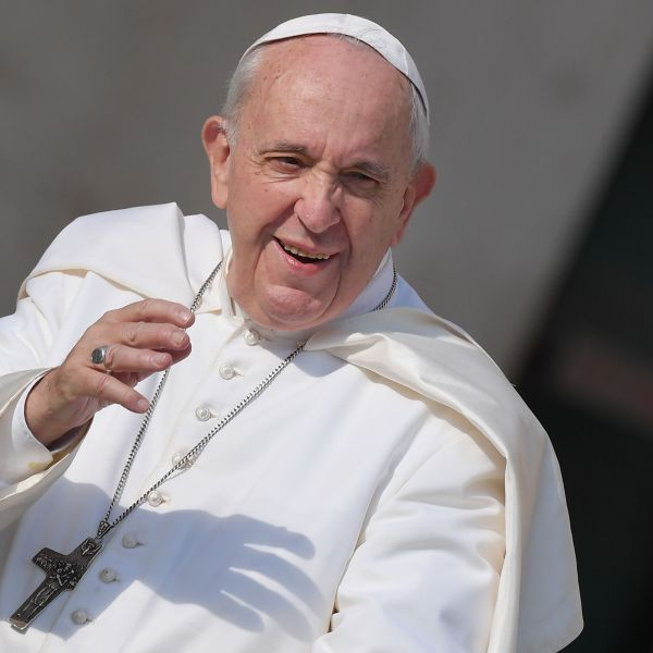 Pope Francis waves to worshipers upon his arrival for the weekly general audience on Aug. 28, 2019 at St Peter's square in the Vatican. (Credit: Tiziana Fabi/AFP/Getty Images)