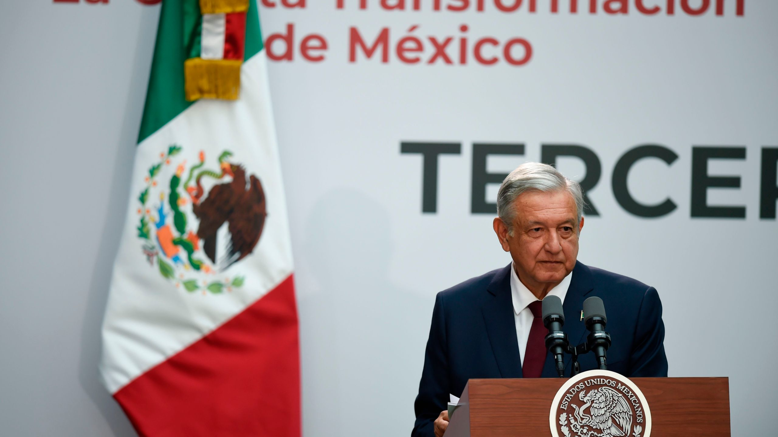 Andrés Manuel López Obrador delivers his first annual report as Mexico's president at the National Palace in Mexico City on Sept. 1, 2019. (Credit: ALFREDO ESTRELLA/AFP/Getty Images)