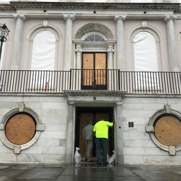 The Charleston, South Carolina, City Hall is boarded up on September 4, 2019, as Hurricane Dorian heads north from Florida. (Credit: CARMEN CUESTA-ROCA/AFP/Getty Images)