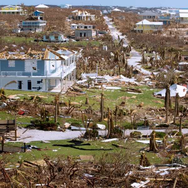 Damaged homes after hurricane Dorian devastated Elbow Key Island on September 8, 2019, in Hope Town, Bahamas. (Credit: Jose Jimenez/Getty Images)