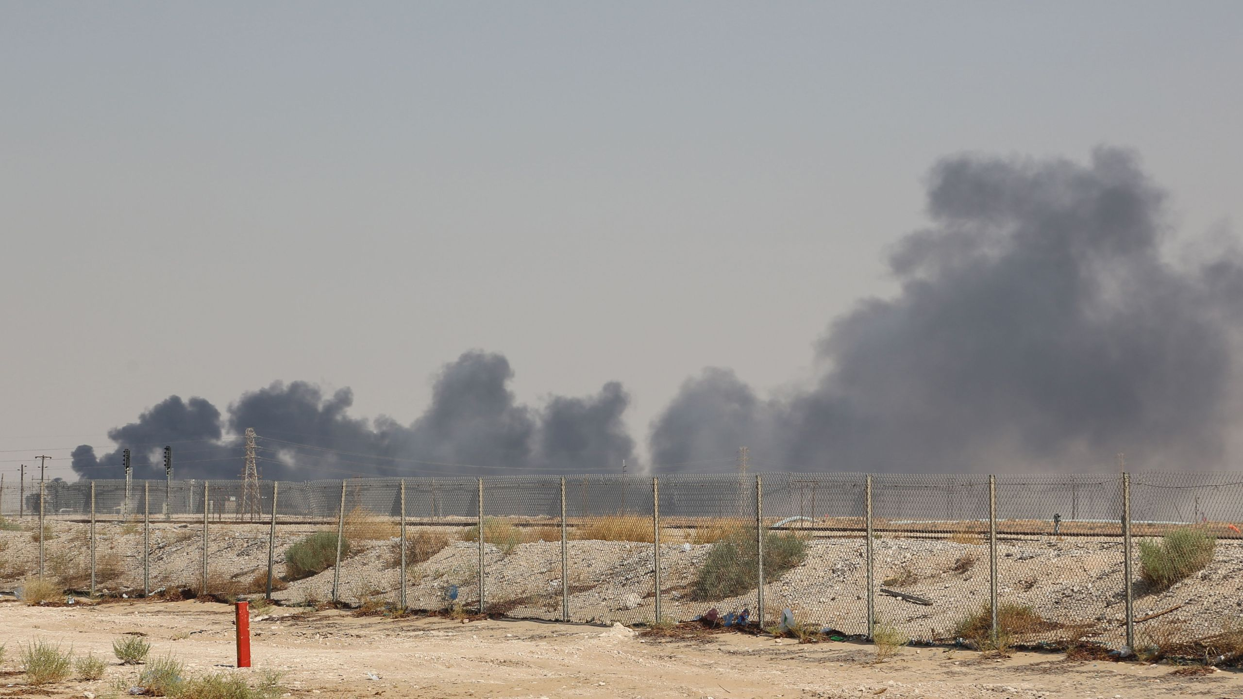 Smoke billows from an Aramco oil facility in Abqaiq about 37 miles southwest of Dhahran in Saudi Arabia's eastern province on September 14, 2019.(Credit: AFP/Getty Images)