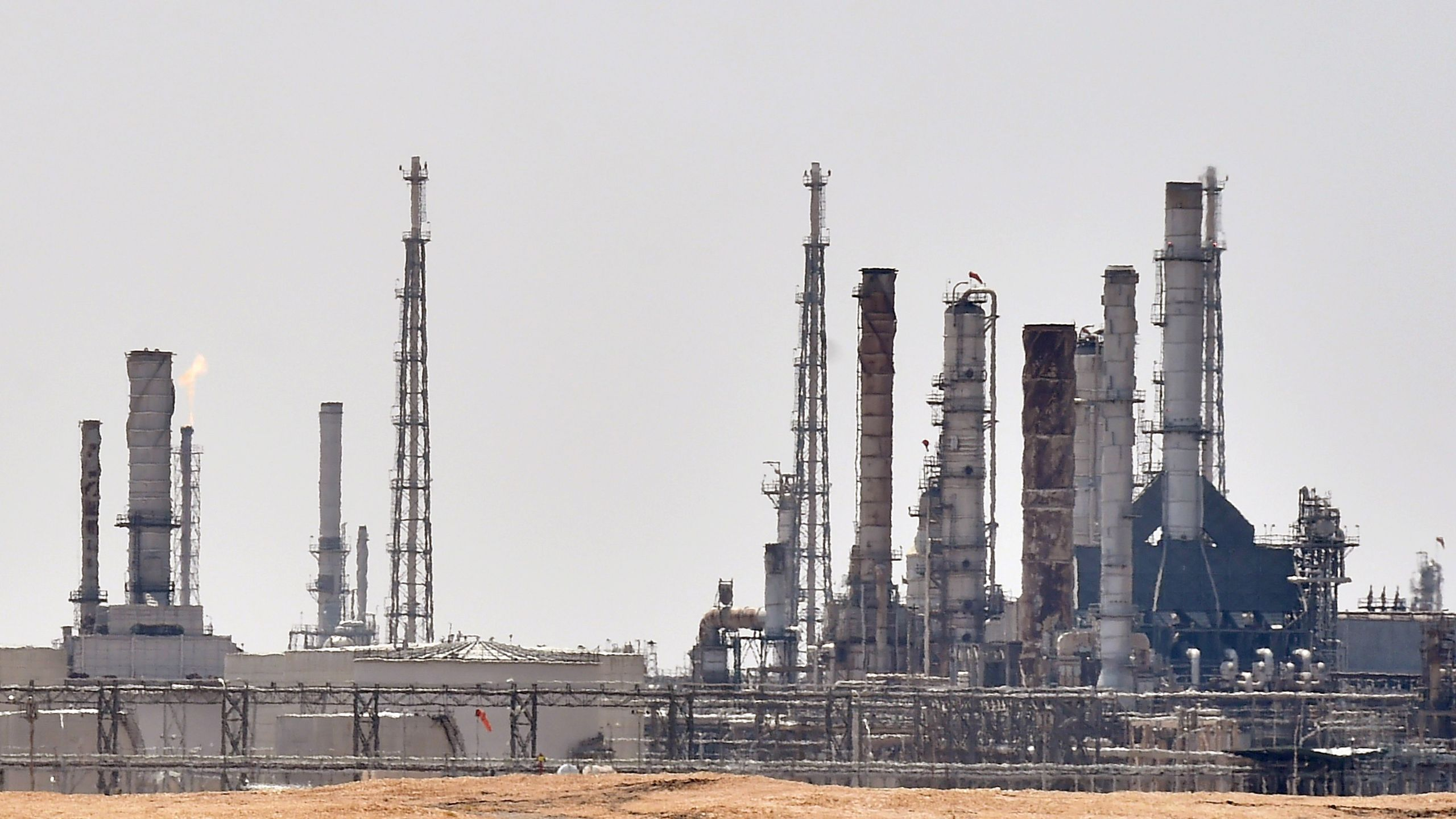 A picture taken on Sept. 15, 2019, shows an Aramco oil facility near al-Khurj area, just south of the Saudi capital Riyadh. (Credit: FAYEZ NURELDINE/AFP/Getty Images)