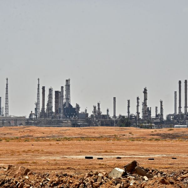 A picture taken on September 15, 2019 shows an Aramco oil facility near al-Khurj area, just south of the Saudi capital Riyadh. (Credit: FAYEZ NURELDINE/AFP/Getty Images)