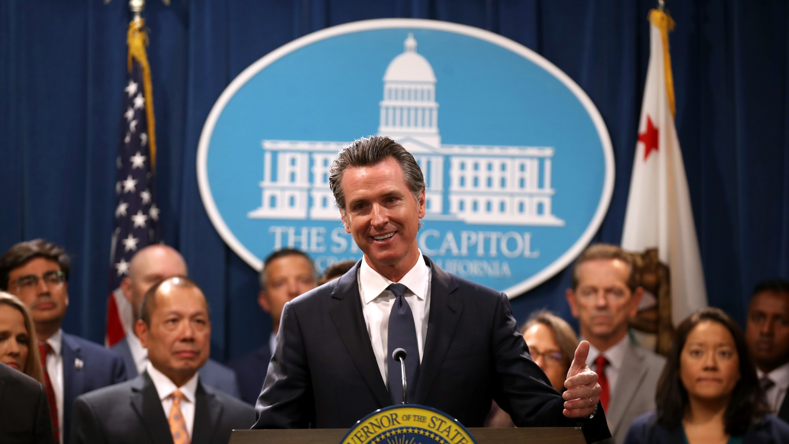 Gov. Gavin Newsom speaks during a news conference with Attorney General Xavier Becerra at the Capitol in Sacramento on Aug. 16, 2019. (Credit: Justin Sullivan / Getty Images)