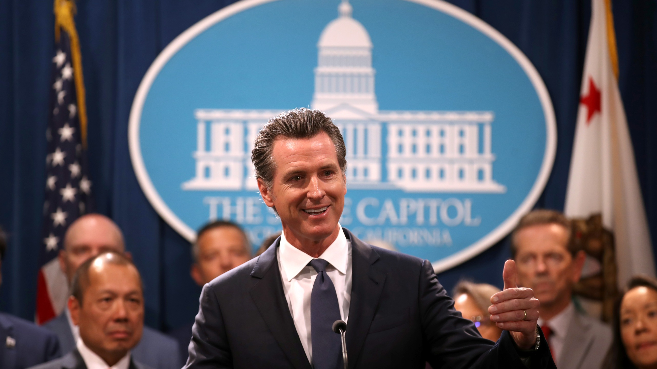 Gov. Gavin Newsom speaks during a news conference at the California State Capitol on Aug. 16, 2019, in Sacramento. (Credit: Justin Sullivan/Getty Images)