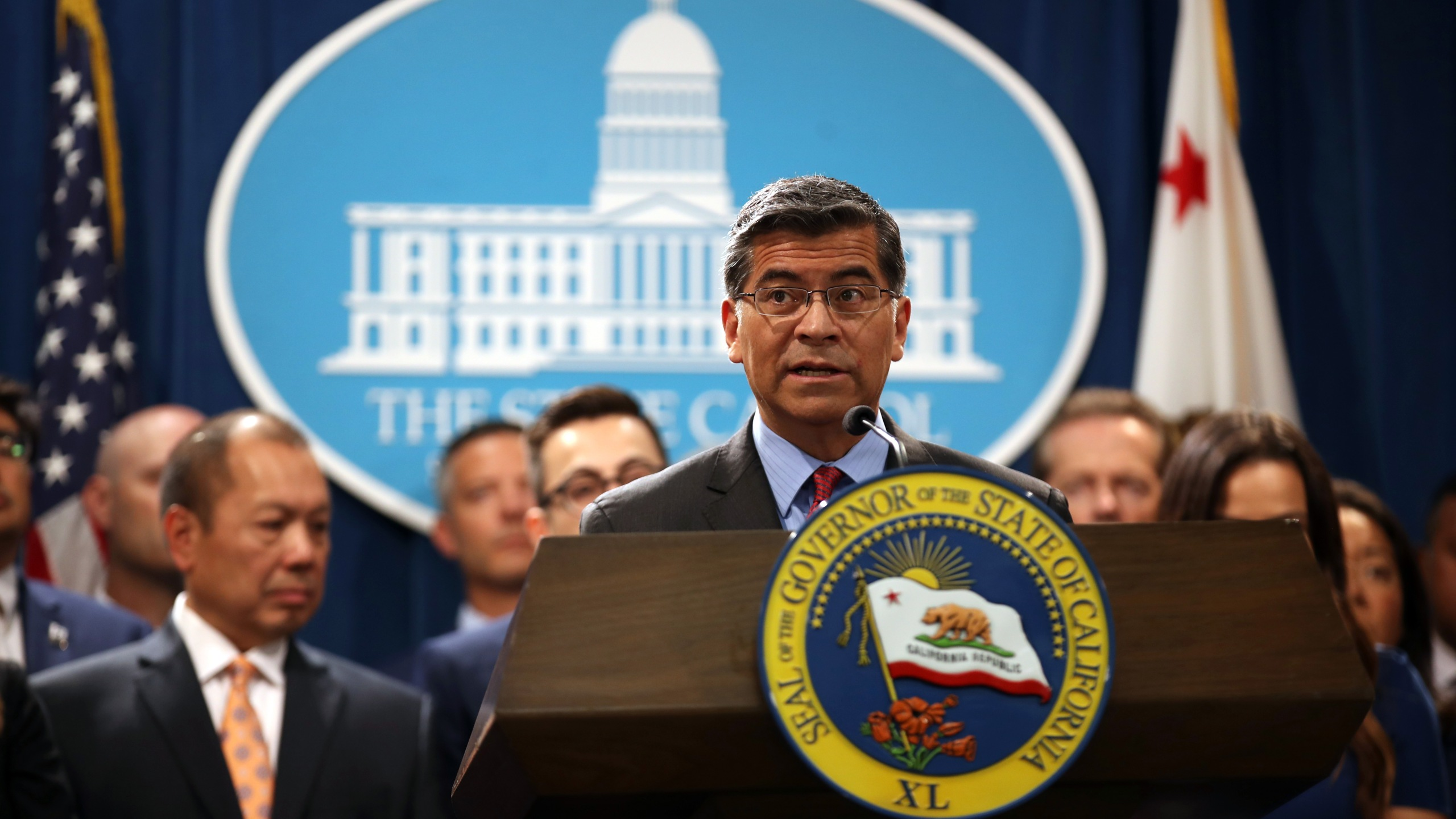 Attorney General Xavier Becerra speaks during a news conference with Gov. Gavin Newsom at the Capitol in Sacramento on Aug. 16, 2019. (Credit: Justin Sullivan / Getty Images)