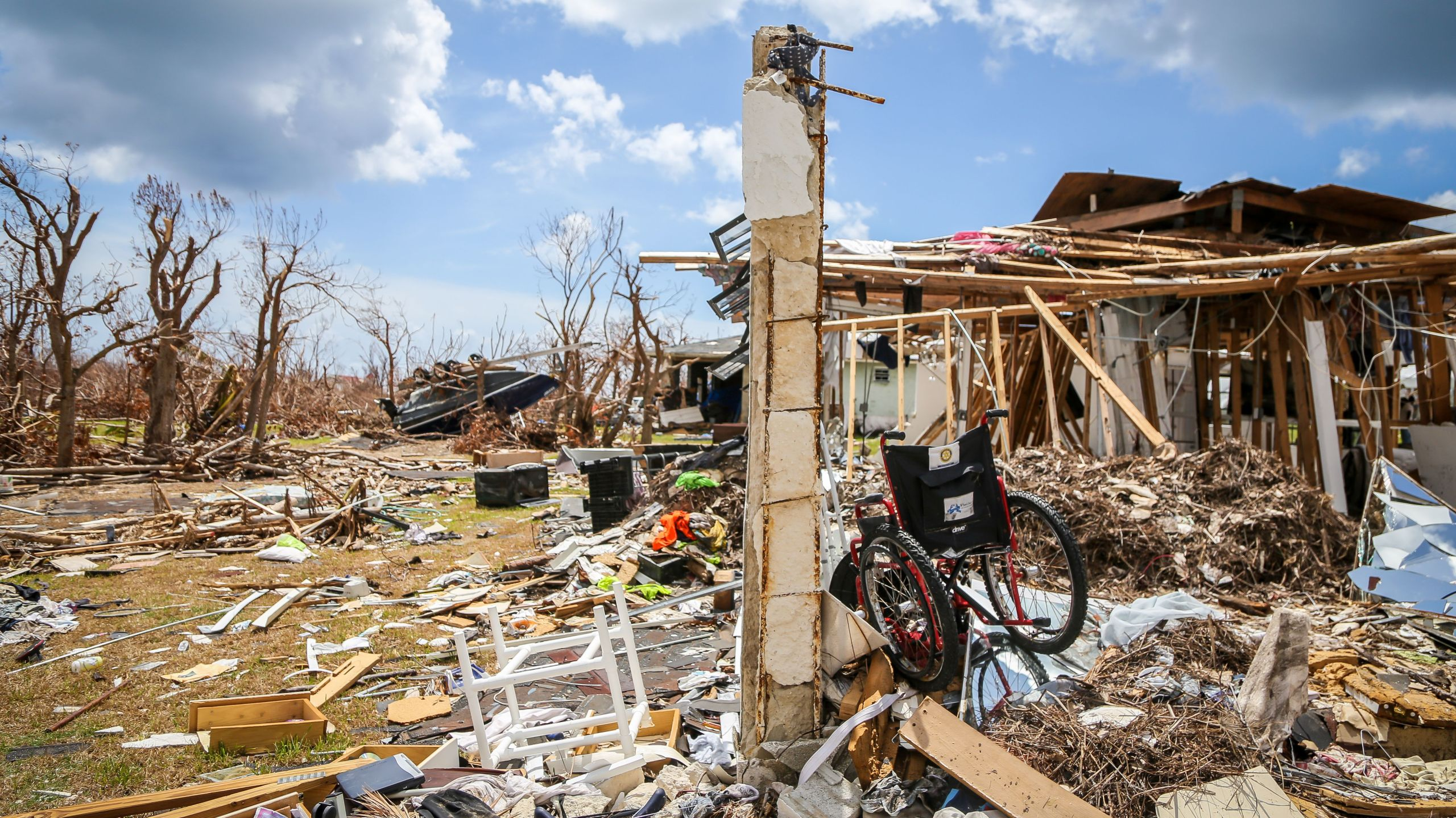 Destroyed homes are seen in High Rock, Grand Bahama, Bahamas, on Sept. 16, 2019. (Credit: Zak Bennett / AFP / Getty Images)