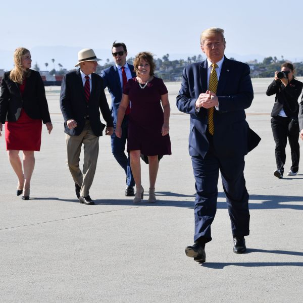 President Donald Trump landed at LAX on his way to attend fundraisers in Los Angeles on Sept. 17, 2019. (Credit: Nicholas Kamm / AFP / Getty Images)