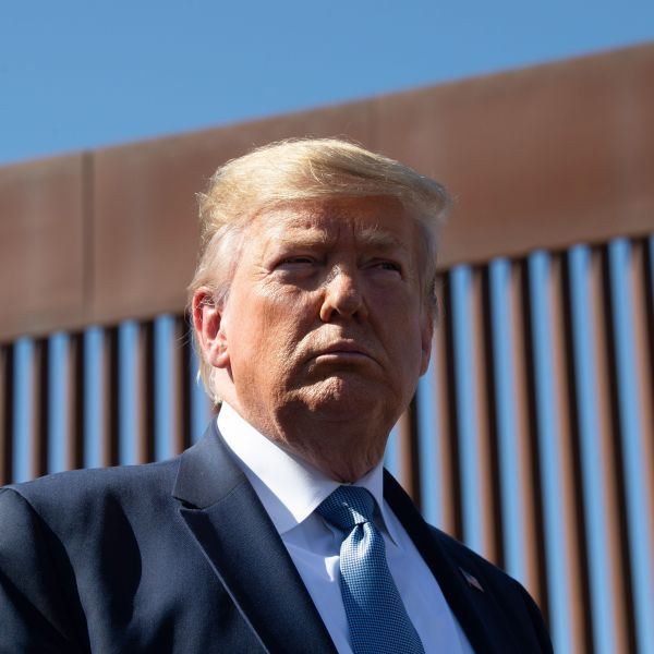 President Donald Trump visits the U.S.-Mexico border wall in Otay Mesa on Sept. 18, 2019. (Credit: Nicholas KAMM / AFP / Getty Images)