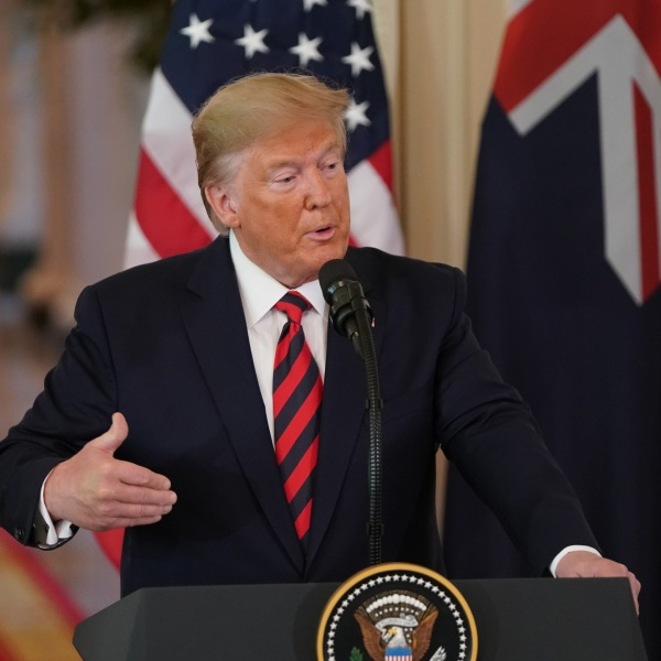 U.S. President Donald Trump speaks during a press conference with Australian Prime Minister Scott Morrison in the East Room of the White House in Washington, D.C., on Sept. 20, 2019. (Credit: ALEX EDELMAN/AFP/Getty Images)