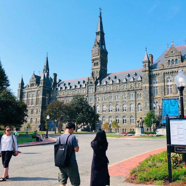 A view of Healy Hall at Georgetown University is seen on Sep. 22, 2019 in Washington,DC.(Credit: Daniel Slim/AFP/Getty Images)