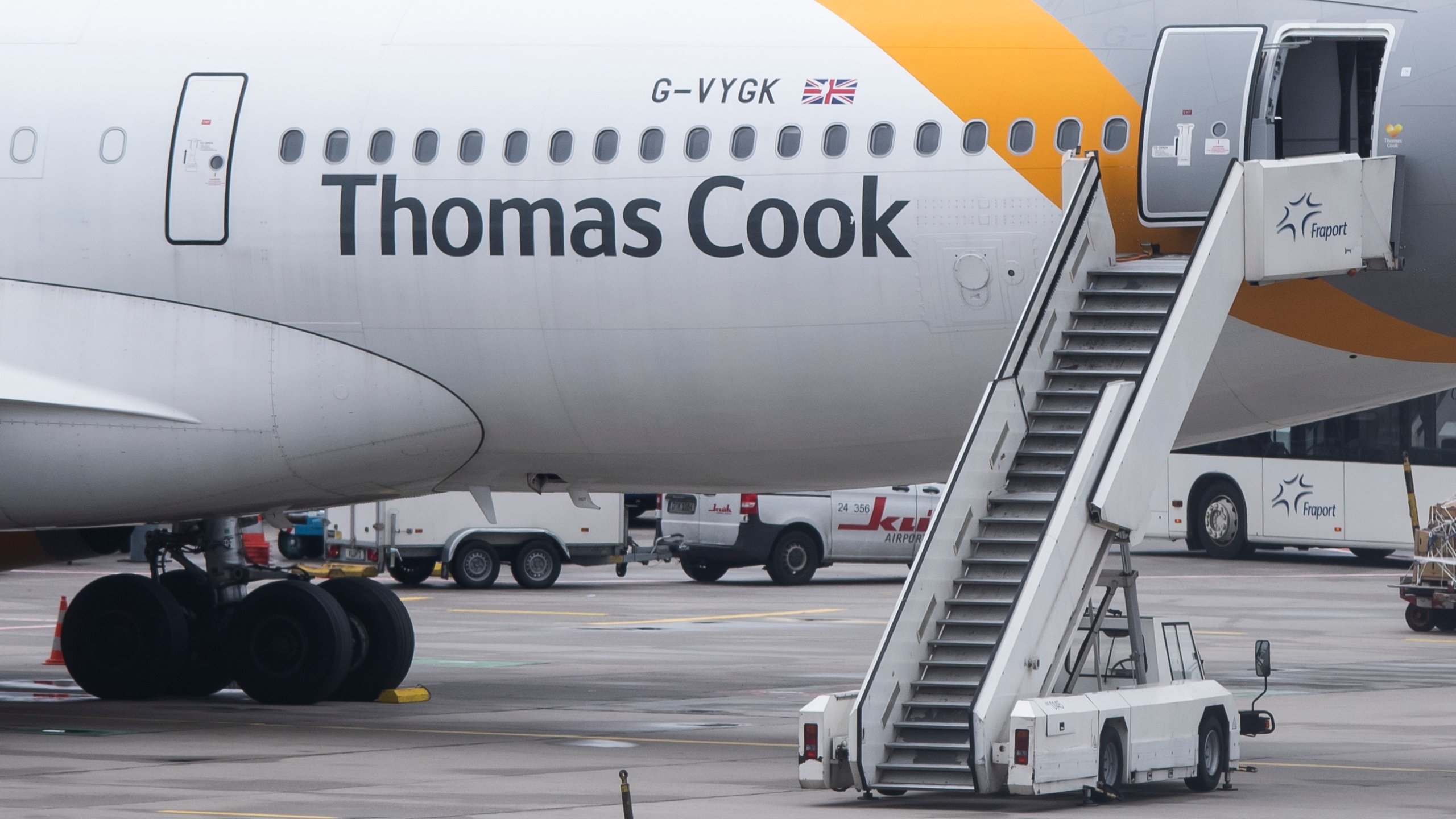 An airplane of British tour operator Thomas Cook is seen on September 23, 2019 at the airport in Frankfurt am Main, western Germany. (Credit: SILAS STEIN/AFP/Getty Images)
