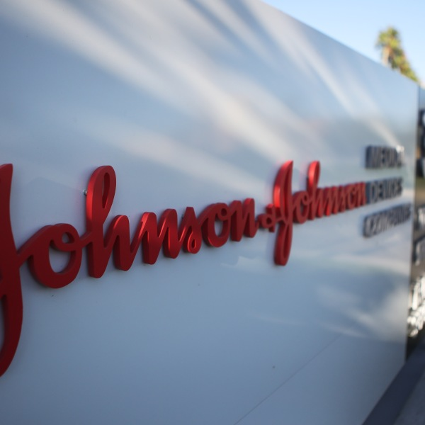 A sign is posted at the Johnson & Johnson campus on Aug. 26, 2019 in Irvine, Calif. (Credit: Mario Tama/Getty Images)