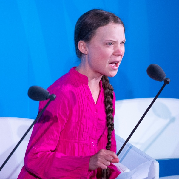 Climate activist Greta Thunberg speaks during the UN Climate Action Summit at the United Nations headquarters in New York City on Sept. 23, 2019. (Credit: Johannes Eisele / AFP / Getty Images)