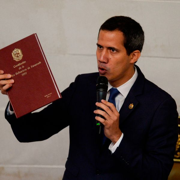 Venezuelan opposition leader and self-proclaimed acting president Juan Guaido speaks during a session of the National Assembly with the presence of pro-government deputies in Caracas on Sept. 24, 2019. (Credit: MATIAS DELACROIX/AFP/Getty Images)