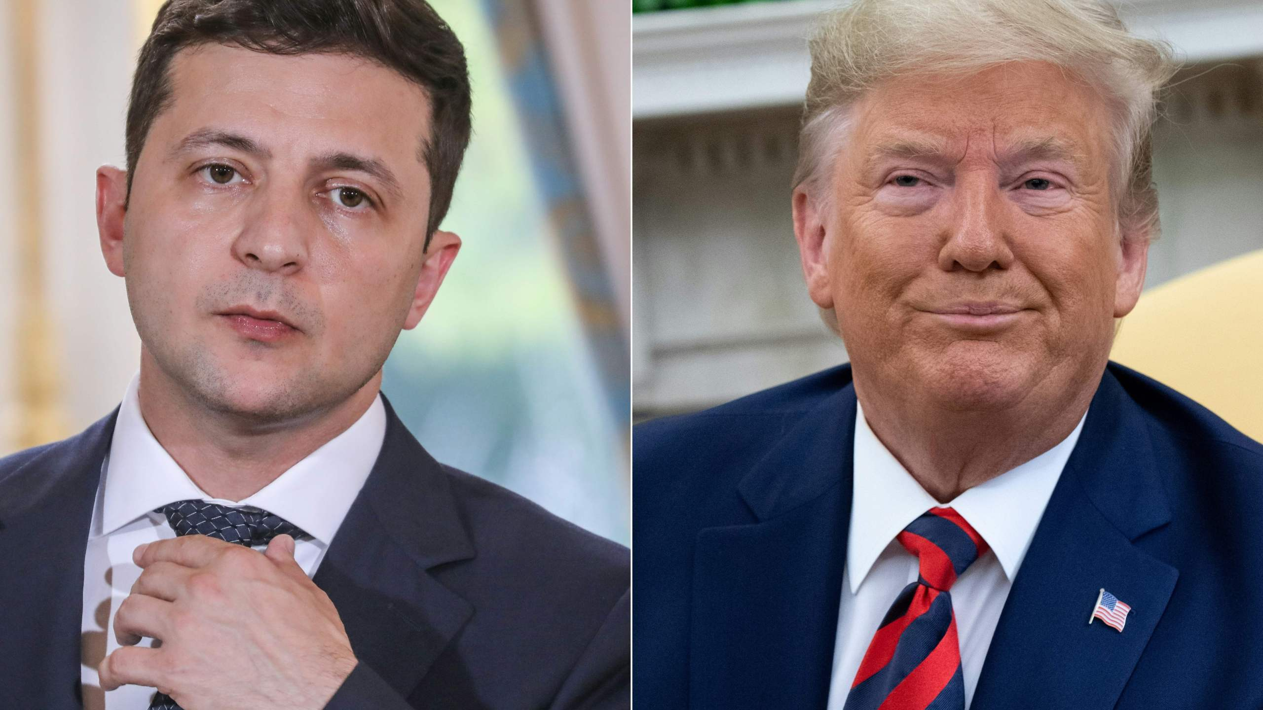 Ukraine's President Volodymyr Zelensky in June 17, 2019 in Paris and U.S. President Donald Trump during a meeting in the Oval Office at the White House in Washington, D.C. on Sept. 20, 2019. (Credi: LUDOVIC MARIN,SAUL LOEB/AFP/Getty Images)