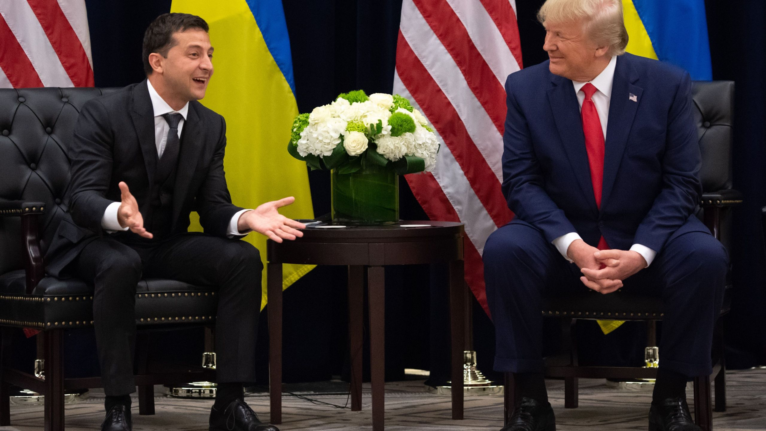U.S. President Donald Trump and Ukrainian President Volodymyr Zelensky meet in New York on Sept. 25, 2019. (Credit: SAUL LOEB/AFP/Getty Images)