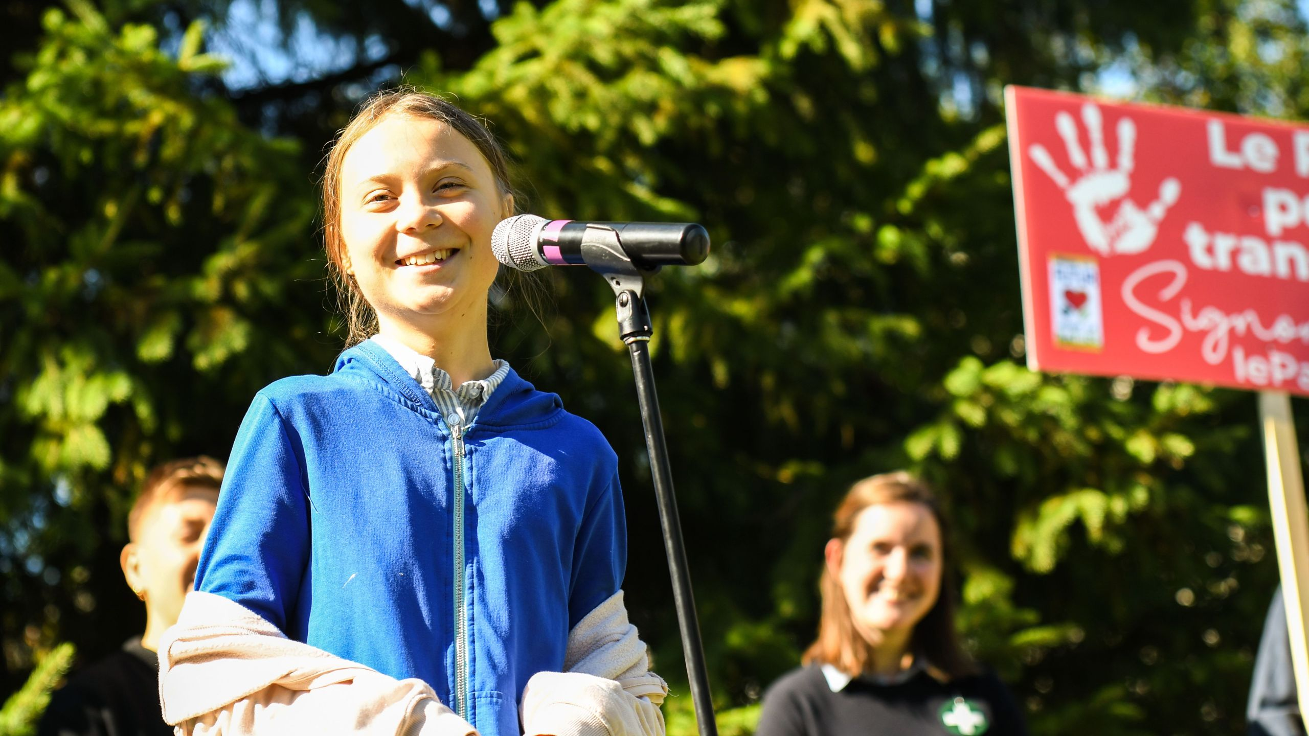 Swedish climate activist Greta Thunberg speaks during a press conference before the march for climate in Montreal, Canada, on Sept. 27 2019. (Credit: MARTIN OUELLET-DIOTTE/AFP/Getty Images)