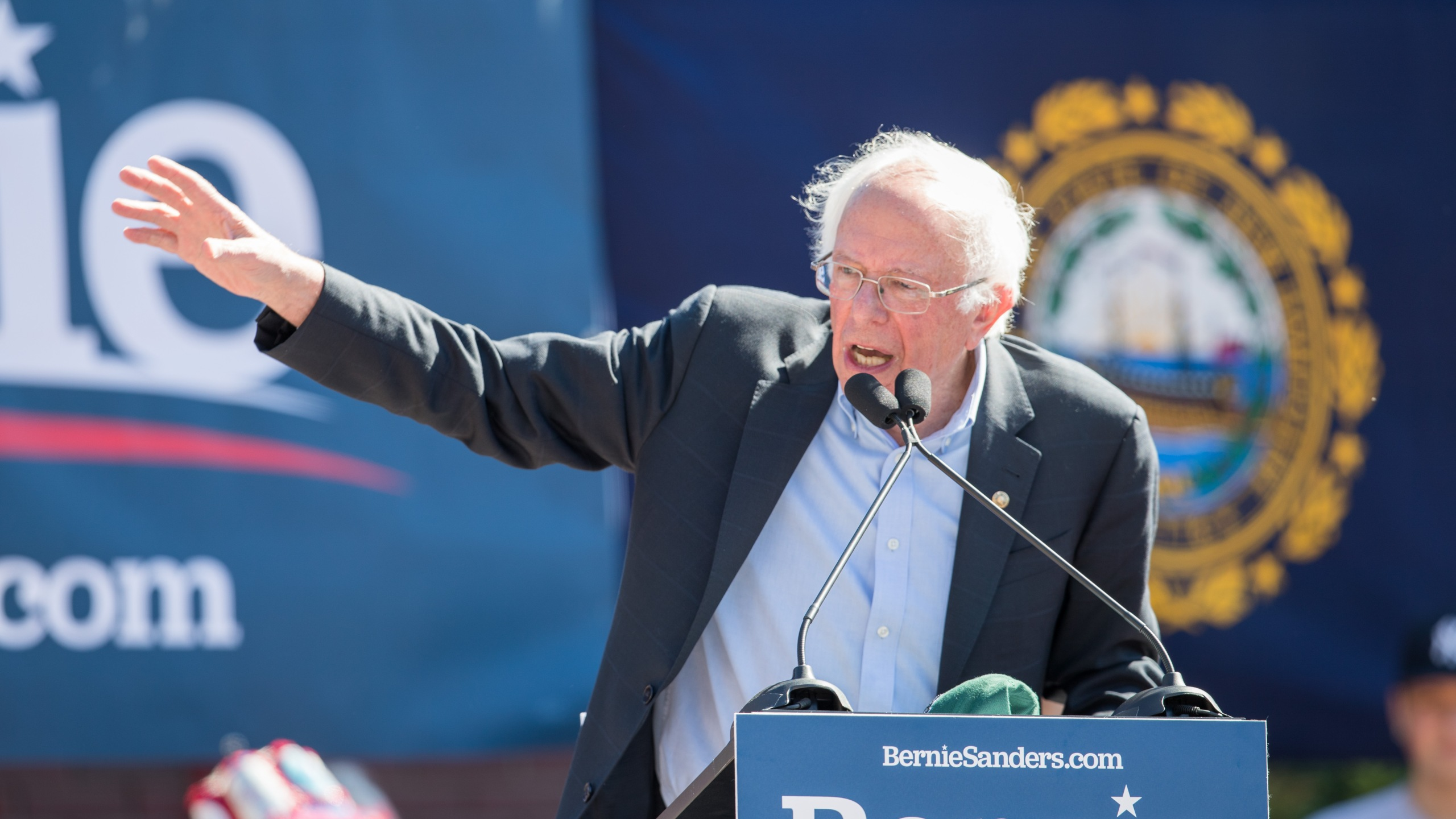 "Democratic presidential candidate, Sen. Bernie Sanders (I-VT) speaks during his event at Plymouth State University on September 29, 2019 in Plymouth, New Hampshire. (Credot"" Scott Eisen/Getty Images)"