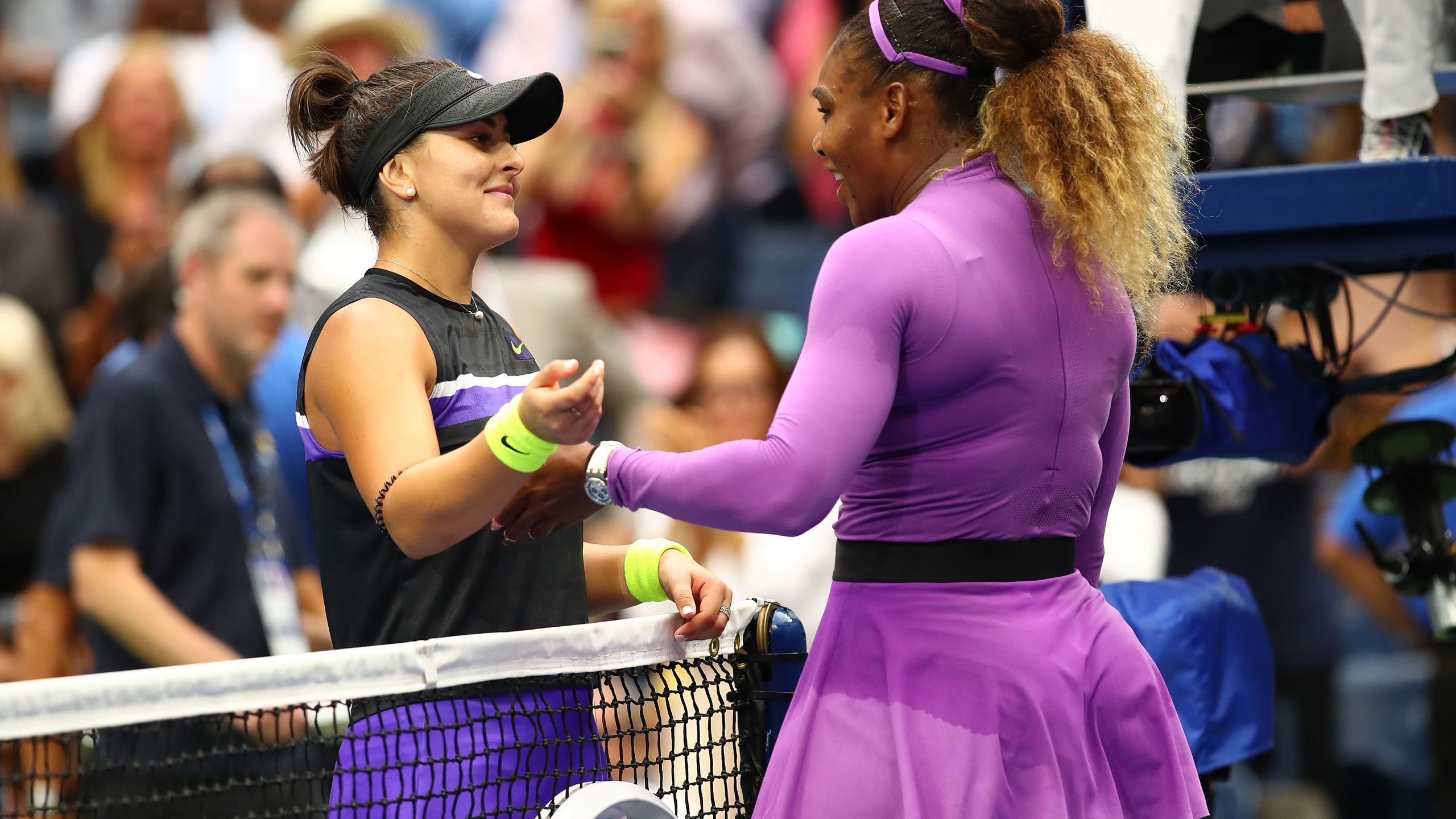 Bianca Andreescu is congratulated by Serena Williams after winning the Women's Singles final match on day thirteen of the 2019 U.S. Open on Sep. 7, 2019, in the Queens borough of New York City. (Credit: Clive Brunskill/Getty Images)