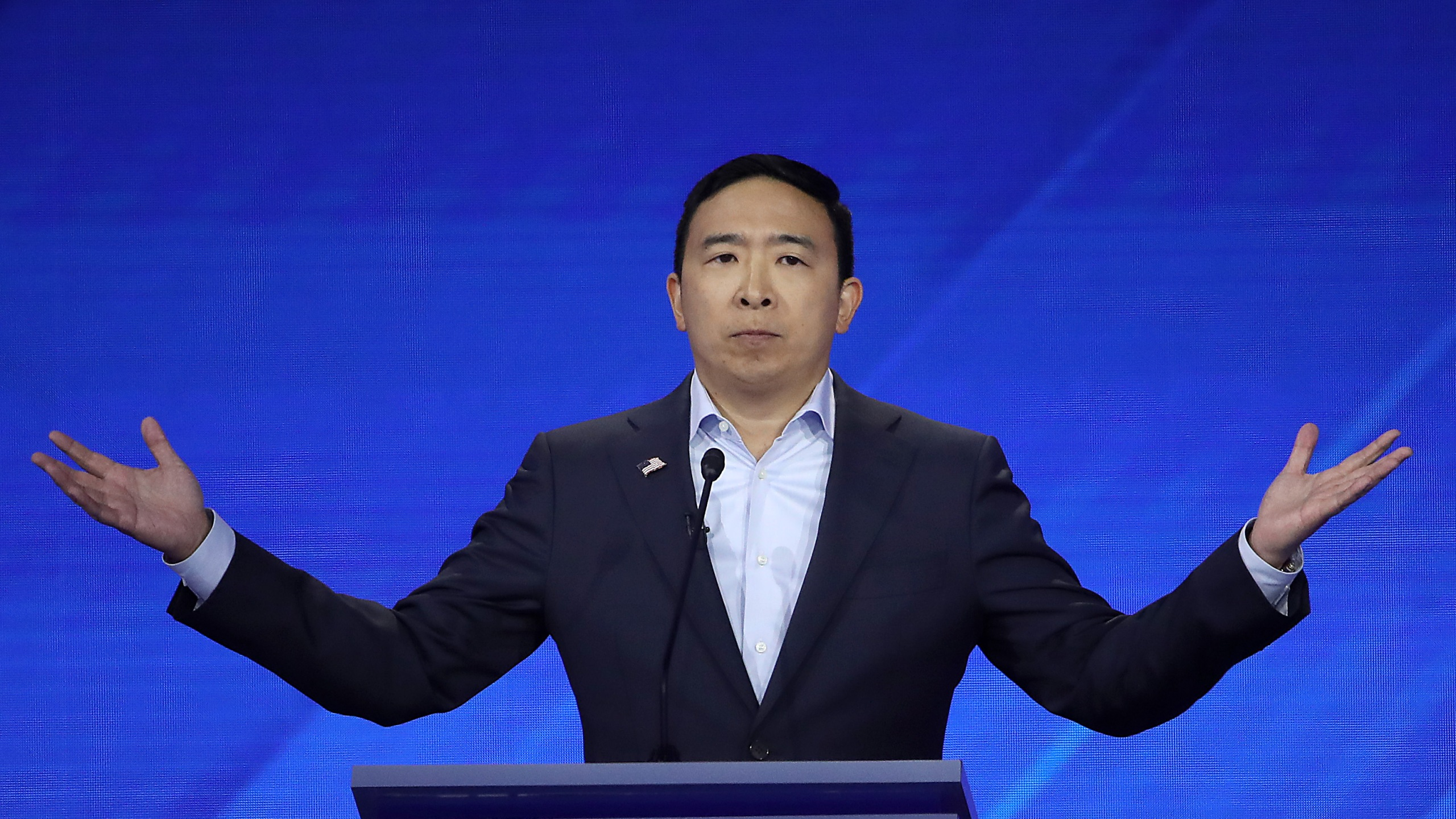 Democratic presidential candidate former tech executive Andrew Yang speaks during the Democratic Presidential Debate at Texas Southern University on Sept. 12, 2019 in Houston, Texas. (Credit: Win McNamee/Getty Images)
