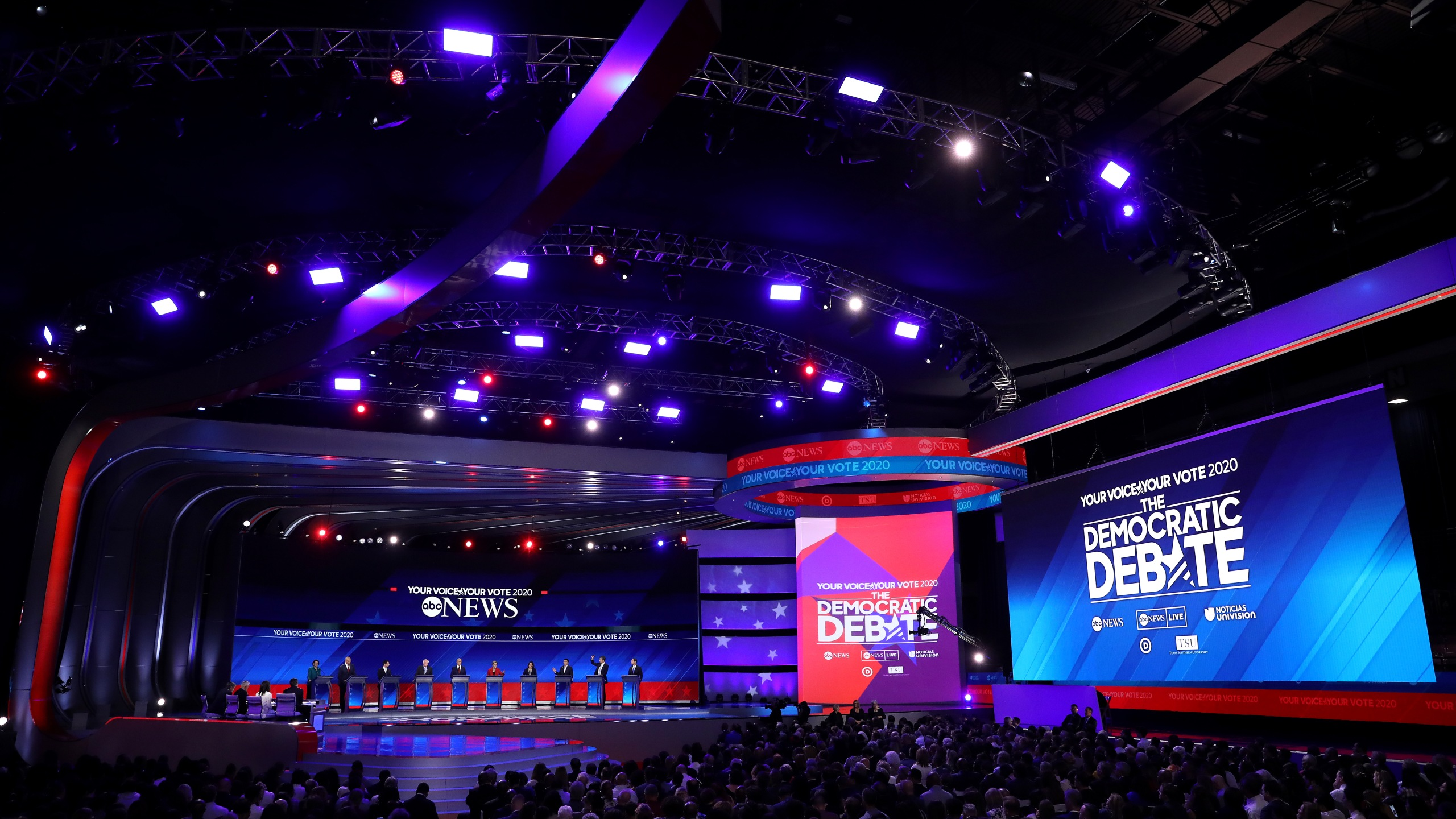 Democratic presidential candidates debate on stage during the Democratic Presidential Debate at Texas Southern University's Health and PE Center in Houston on Sept. 12, 2019. (Credit: Win McNamee/Getty Images)