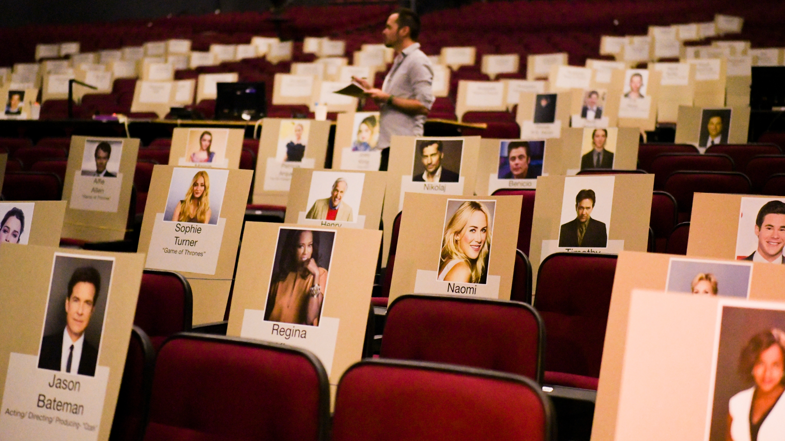 Face seat holders are seen at the 71st Emmy Awards preview day at Microsoft Theater on Sept. 19, 2019 in Los Angeles. (Credit: Rodin Eckenroth/Getty Images)