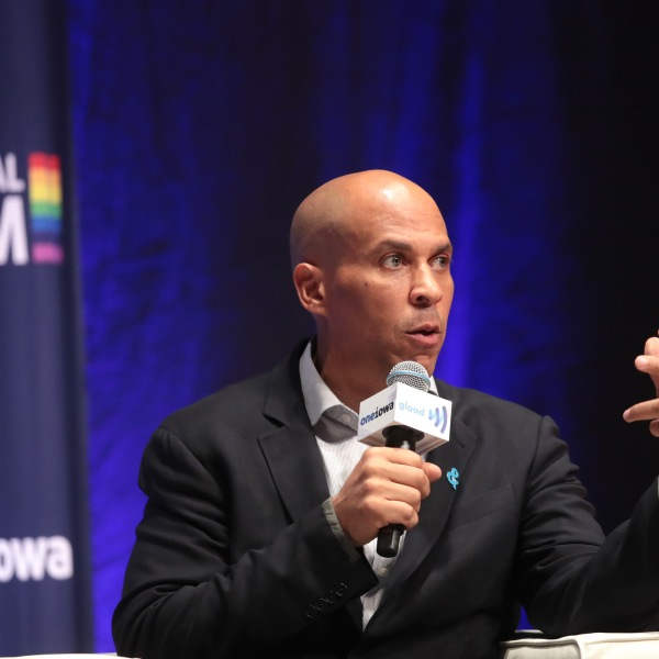 Democratic presidential candidate and New Jersey senator Cory Booker speaks at an LGBTQ presidential forum at Coe College's Sinclair Auditorium on Sept. 20, 2019 in Cedar Rapids, Iowa. (Credit: Scott Olson/Getty Images)