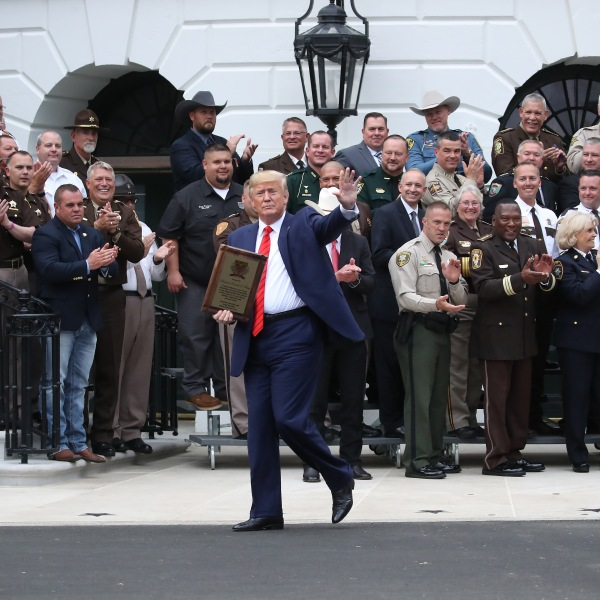 President Donald Trump walks away after receiving an award from the National Sheriffs' Association, at the White House on Sept. 26, 2019. (Credit: Mark Wilson/Getty Images)