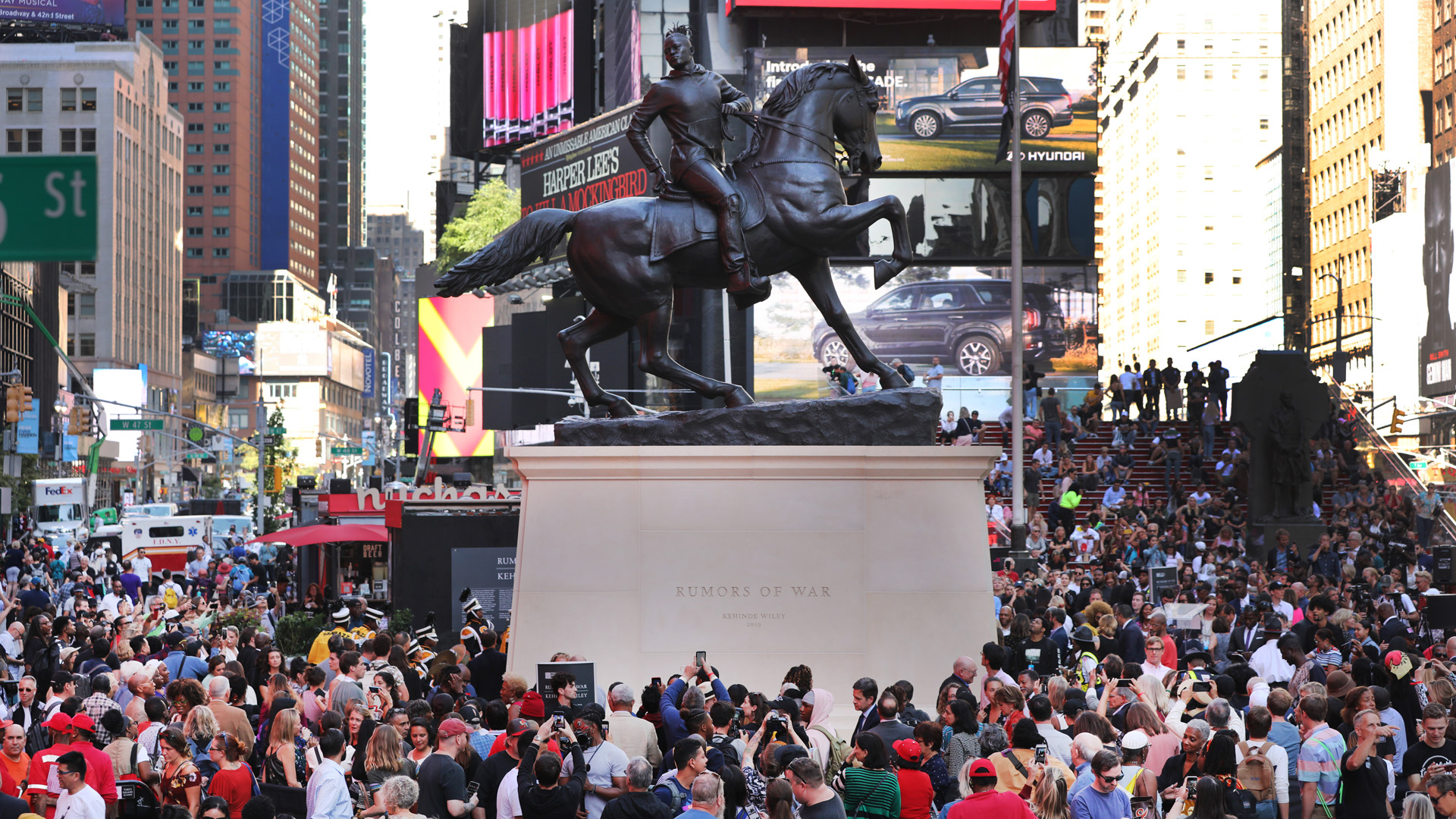 """The sculpture """"Rumors of War"""" is unveiled in Times Square on September 27, 2019 in New York City. (Credit: Spencer Platt/Getty Images)"""