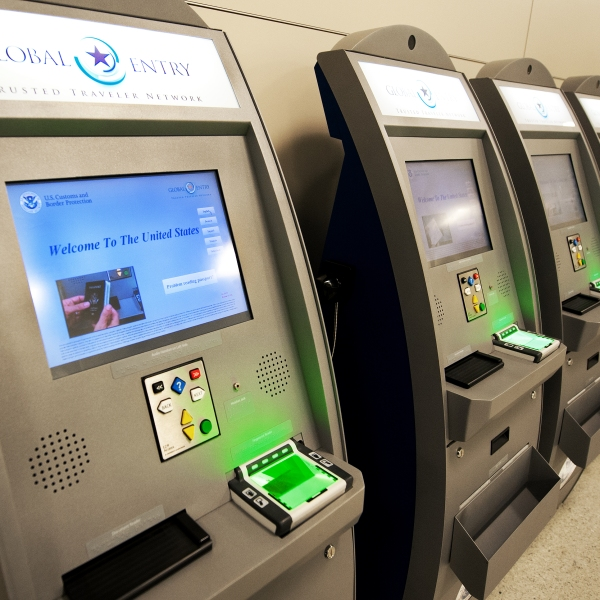 Global Entry helps travelers get through Customs faster. Network kiosks are seen at Dulles International Airport (IAD), December 21, 2011 in Sterling, Virgina, near Washington, DC. (Credit: PAUL J. RICHARDS/AFP/Getty Images)