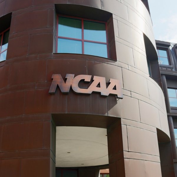 The entrance to the NCAA's headquarters is seen on July 23, 2012 in Indianapolis, Indiana. (Credit: Joe Robbins/Getty Images)