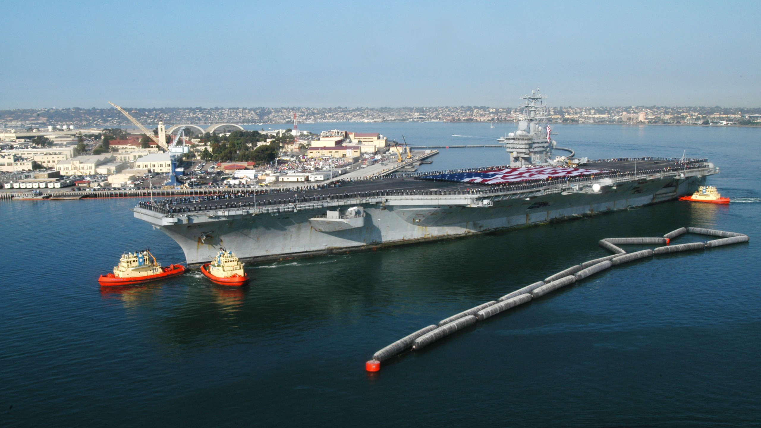 In this U.S. Navy handout, the USS Nimitz arrives in her homeport at Naval Air Station North Island November 5, 2003 in Coronado, California.