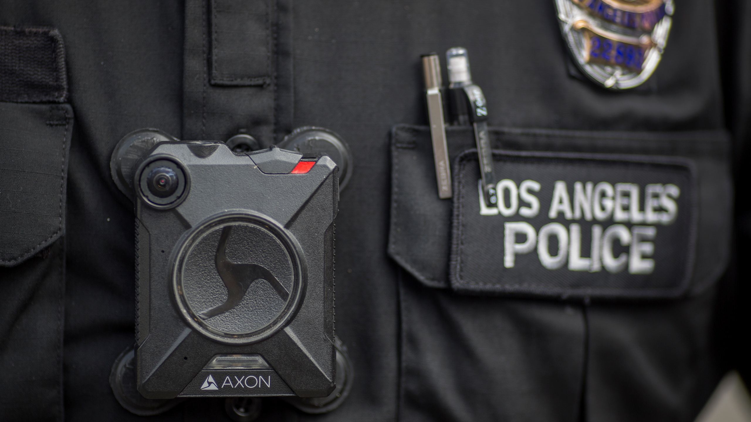 A Los Angeles police officer's body camera is seen on Feb. 18, 2017, in Los Angeles. (Credit: David McNew/Getty Images)