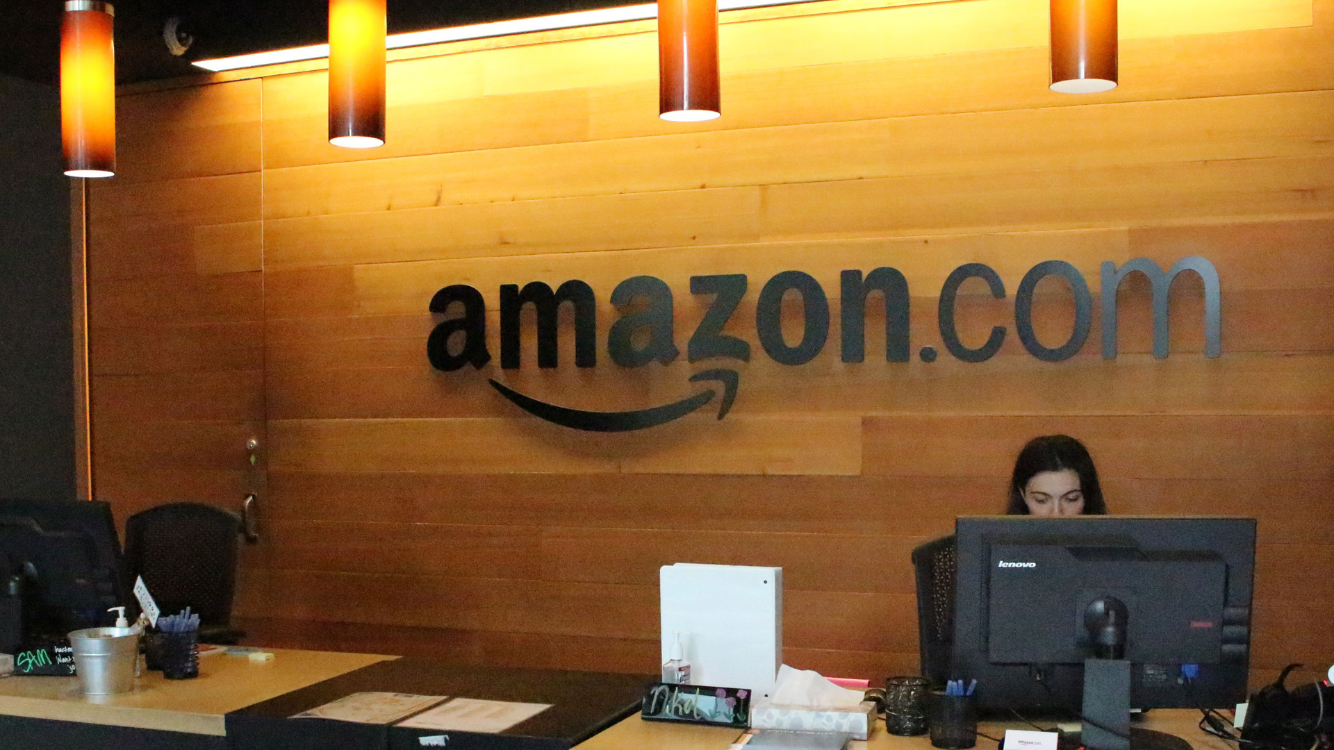 A reception desk at Amazon offices is seen in downtown Seattle, Washington on May 11, 2017. (Credit: GLENN CHAPMAN/AFP/Getty Images)