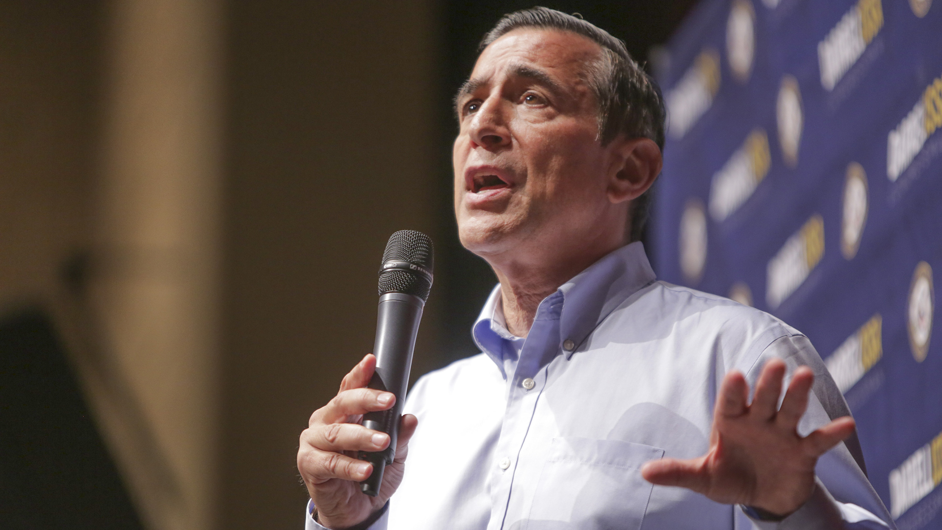Darrell Issa speaks at a town hall meeting at a high school in San Juan Capistrano on June 3, 2017. (Credit: Bill Wechter / AFP / Getty Images)